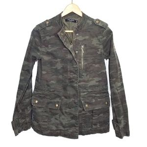 Max Jeans green camo zip up utility jacket XS